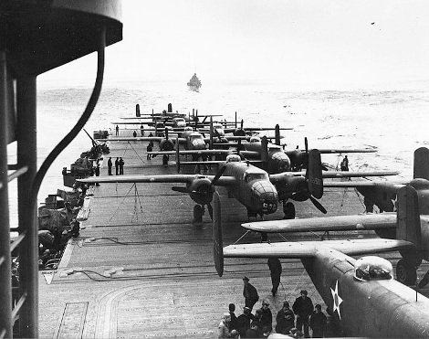 B_25s on deck of USS Hornet before Doolittle Raid on Tokyo.jpg