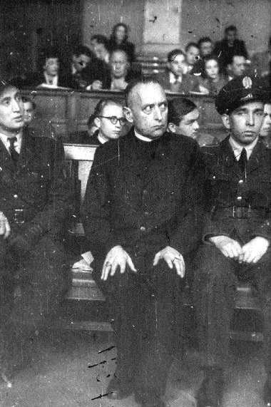 Cardinal Mindszenty in the defendant's bench before the Communist kangaroo court in 1949.