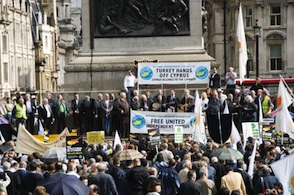 In London Cypriots demonstrate Turkish invasion of Cyprus
