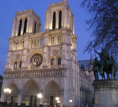 Notre Dame Cathedral, Paris, with statue of Charlemagne in forground