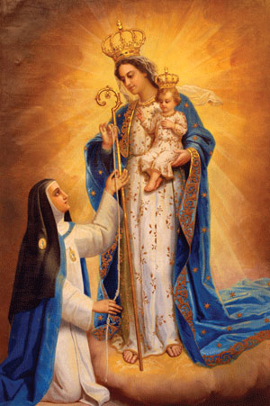 Mother Mariana measuring Our Lady of Good Success with Child Jesus