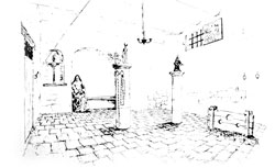 Drawing of the prison of the convent where Mother Mariana of Jesus and the other holy foundresses were unjustly imprisoned