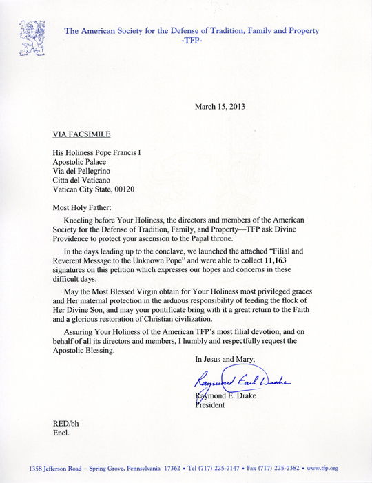 Letter of American TFP to Pope Francis I