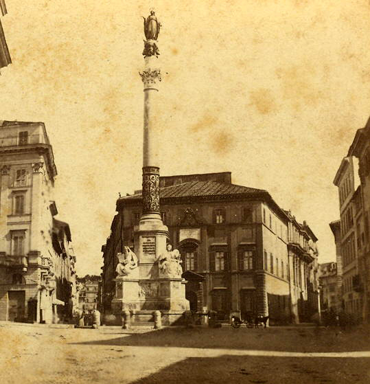 Column of the Immaculate Conception in Piazza di Spagna, Rome, around 1880