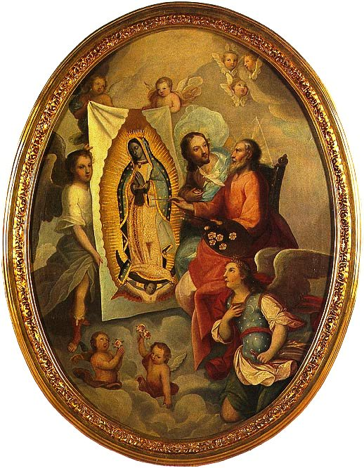 God Eternal Father paints Our Lady of Guadalupe's image on the tilma.