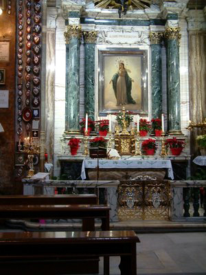 The Altar above which Our Lady, Madonna del Miracolo, appeared to Alphonse Ratisbonne, and where he converted to Catholicism