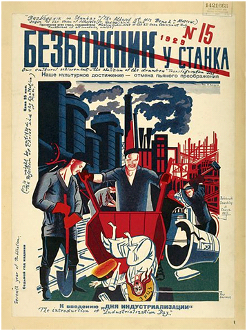 Blasphemous cover of the Soviet magazine Bezbozhnik (Atheist) depicting Our Lord being dumped by industrial workers