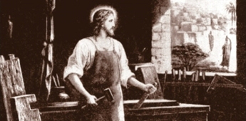 Our Lord, seen here working as a carpenter, shows us that every humble profession can be performed with great dignity