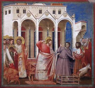 Christ Jesus expels the merchants and money-changers from the Temple, by Giotto