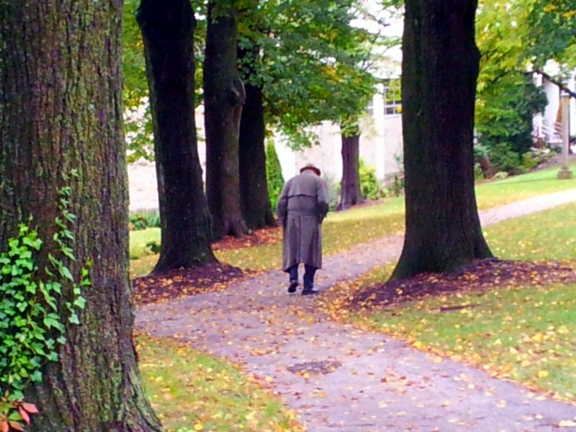 Mr. Jeremiah Wells taking his customary walk while he prayed his daily rosary around the grounds of the TFP headquarters in Spring Grove, Penn