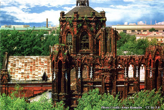 Ruins of the Cathedral of the Immaculate Conception of the Holy Virgin Mary in Moscow after it was forcibly closed in 1938
