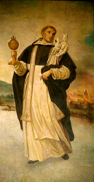 Saint Hyacinth the Dominican Preacher carries the Holy Eucharist and statue of the Blessed Virgin to safety.