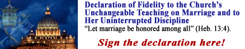 Declaration of Fidelity to the Church's Unchangeable Teaching on Marriage and to Her Uninterrupted Discipline. Sign the declaration now!