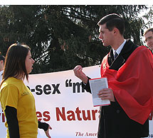 Arguing with a pro-homosexual student at Millersville.