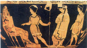 Ancient Greek pottery portraying the arrest of Antigone.