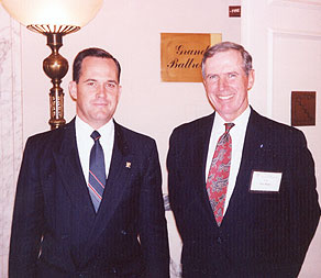 Colonel Ripley with Norman Fulkerson in 1993 at the Mayflower Hotel for the launching of &quot;Nobility and Analogous Traditional Elites&quot;