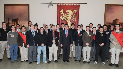 The young men pose with Stephen Ripley who gave a talk on his legendary father Col. John W. Ripley (USMC) Ret.