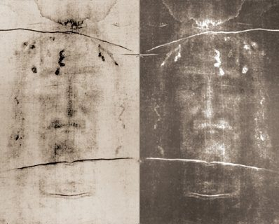 How the Shroud appears to the naked eye and the Shroud with its colors inverted as it would appear on a film negative