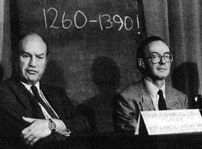 Edward Hall (Oxford testing laboratory) and Michael Tite (British Museum) announcing the carbon 14 dating results