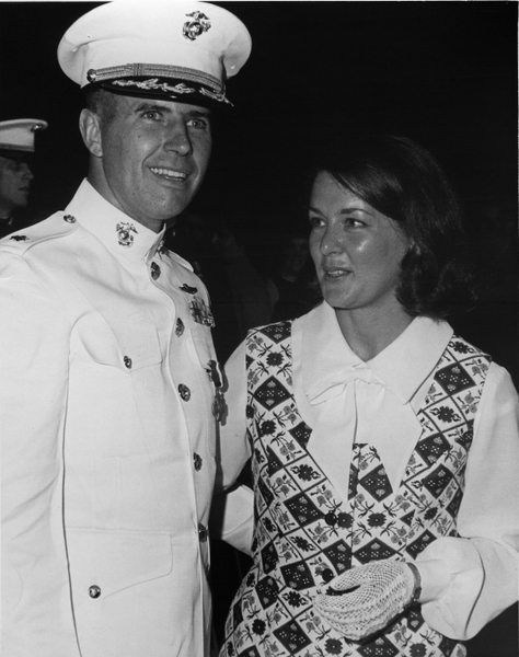 John W. Ripley with his wife Moline, after receiving the Navy Cross at Marine Corps Barracks, Washington, D.C.