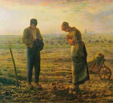It became a habit born of Catholic piety to interrupt one's work to pray the Angelus at dawn, noon and sunset, giving thanks for the Incarnation, praising Our Lady for her obedience to the Divine Will, and asking for the graces related to the Incarnation. L'Angélus by Jean-François Millet.
