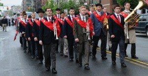"Members of the TFP's ""Holy Choirs of Angels Corps"" led the march to the Bronx County Courthouse."