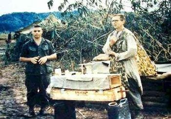 Fr. Charles Joseph Watters celebrating Mass in the combat zone during the Vietnam War, shortly before his death.