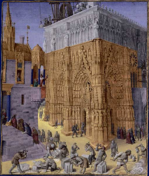 Medieval men building a Cathedral by Jean Fouquet