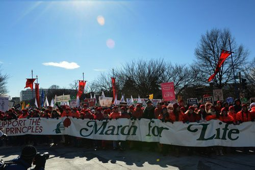 Thousands marched for life, braving the inclimate weather to have their voices heard on behalf of the unborn - March for Life 2014: Ending Abortion Through Heroic Purity
