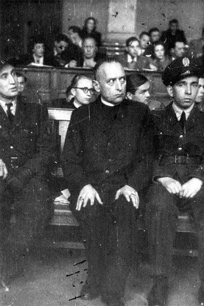 Cardinal Mindszenty during the iniquitous trial