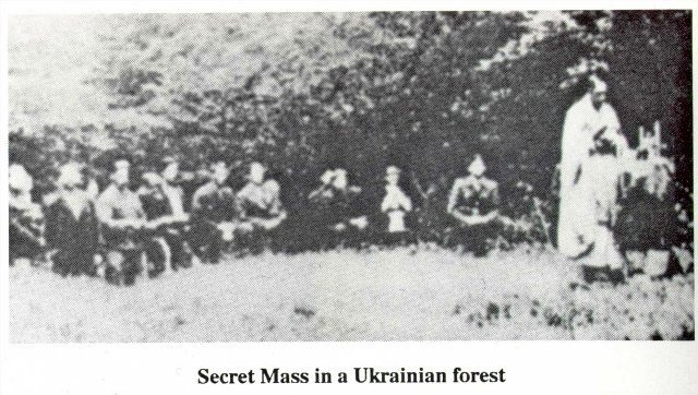 Underground Church in Ukraine during Soviet occupation, Holy Mass in secret in the forest