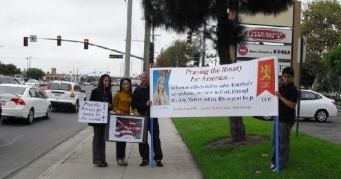 Public Square Rosary Rally at Intersection in Stanton Beach California
