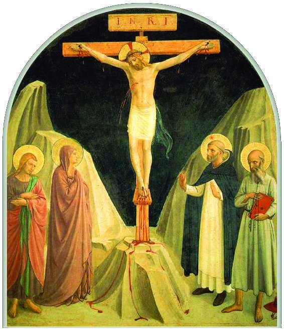 Crucifixion by Fra Angelico, Our Lady at the Foot of the Cross, model of faith, confidence, hope
