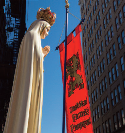 Our Lady of Fatima statue at TFP Rally of Reparation at New York City Planned Parenthood