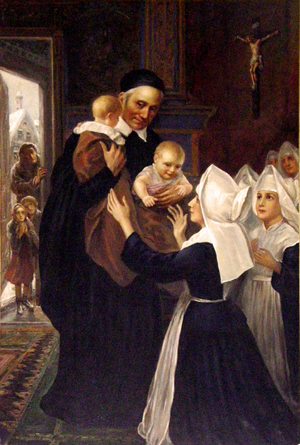 Saint Vincent de Paul and the Daughters of Charity helping orphans and poor children