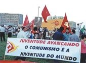 """Youth advancing communism is the youth of the world,"" read a banner at Brazil's World Social Forum."
