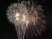 Firework display from the USS Kidd