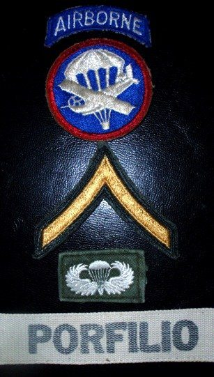 Frederick V. Porfilio military patches and insignia as Army paratrooper