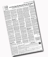 """The American TFP published its statement, """"Is it Fair that the Innocent Pay for the Guilty"""" as a full-page ad in The Washington Times on February 9 and 13."""