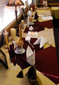 Napkin folding and calligraphy were among the days activities.