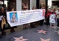 Rallies were held in some of the most sybolic places in the country. Here participants gather at the Hollywood's Walk of Fame.