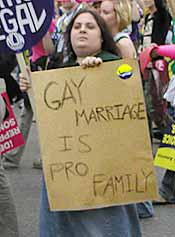 Although unwanted pregnancies are not an issue for homosexuals, homosexual activists were also present at the march.