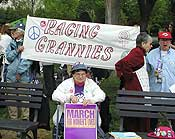 """Despite the contradiction between being a Grandmother and being in favor of abortion, an international group called """"Raging Grannies"""" was present at the march."""