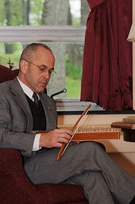 The author takes advantage of some down time to relax and play his psaltery