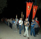Nightly Rosary procession.