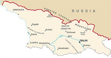 Russia borders Georgia for almost 500 miles.
