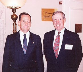 "Colonel Ripley with Norman Fulkerson in 1993 at the Mayflower Hotel for the launching of ""Nobility and Analogous Traditional Elites"""