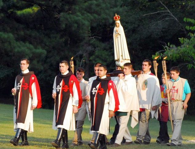 Louisiana Summer Camp - Rosary Procession in TFP Ceremonial Habit