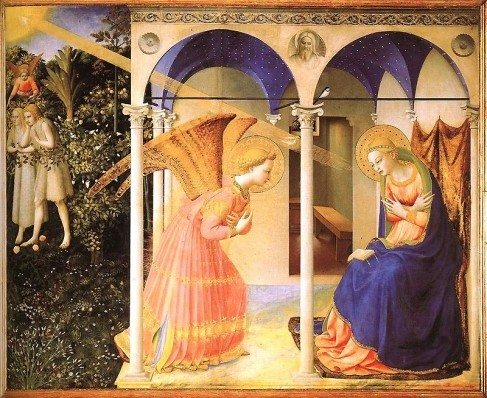 """The Annunciation"" by Fra Angelico. St. Gabriel, with great reverance and piety, announces to the Blessed Virgin Mary that she is to give birth to the Son of the Most High."
