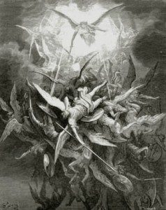 """Lucifer Cast Out"" by Gustave Doré. With the battle-cry ""Quis Ut Deus!"" St. Michael led the first counter-revolutionary offensive in History."